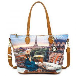 Borsa Donna Y NOT Shopping Media a Spalla con Tracolla YES-396 Paris View