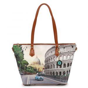 Borsa Donna Y NOT Shopping a Spalla con Tracolla YES-397 Roma Aurelia