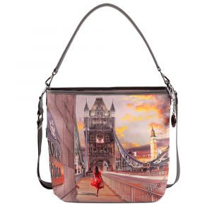 Borsa Donna Y NOT a Spalla con Tracolla YES-349 London Tower Bridge