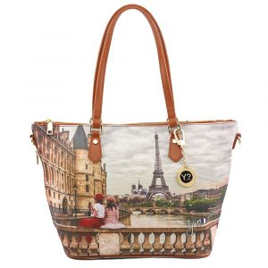 Borsa Donna Y NOT Shopping Media a Spalla con Tracolla YES-396 Paris C'est La Vie