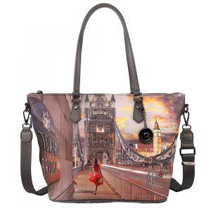 Borsa Donna Y NOT Shopping Media a Spalla con Tracolla YES-396 London Tower Bridge