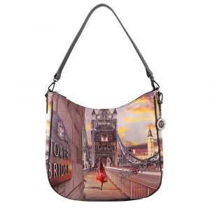Borsa Donna Y NOT Hobo a Spalla YES-373 London Tower Bridge