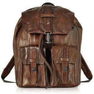 Zaino Porta Pc THE BRIDGE in Pelle Marrone linea Gulliver Made in Italy
