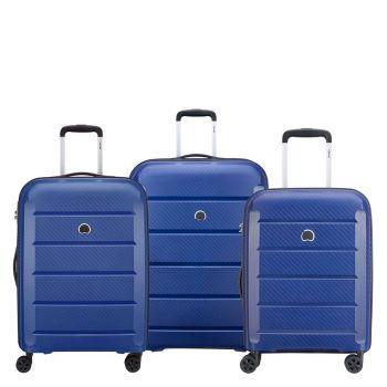 Set 3 Trolley Grande Medio Cabina 4 Ruote Rigido - Delsey Binalong Blu