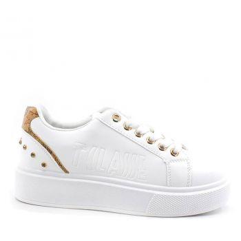 Scarpe Donna 1A Classe Alviero Martini Sneakers Platform in Pelle Bianca con Strass e Dettagli Geo Classic 0131