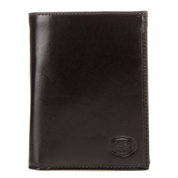 THE BRIDGE Story Line – Black Leather Vertical Wallet for Men