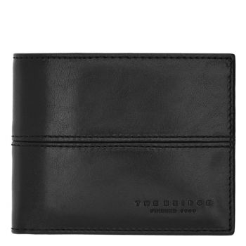 THE BRIDGE Vespucci Line – Black Leather Wallet Made in Italy