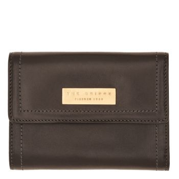 THE BRIDGE Beatrice Line – Small Black Leather Wallet with Clip Closure