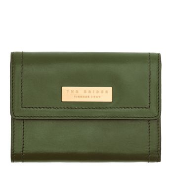 Portafoglio Donna Piccolo con Clip THE BRIDGE in Pelle color Verde Inglese linea Beatrice