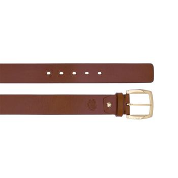 THE BRIDGE Brunelleschi Line – Brown Leather Belt with Gold Buckle 100cm h 4cm Made in Italy