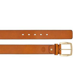 THE BRIDGE Brunelleschi Line – Cognac Leather Belt with Gold Buckle 110cm h 4cm Made in Italy