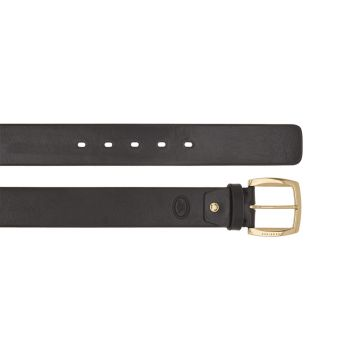 THE BRIDGE Brunelleschi Line – Black Leather Belt with Gold Buckle 100cm h 4cm Made in Italy