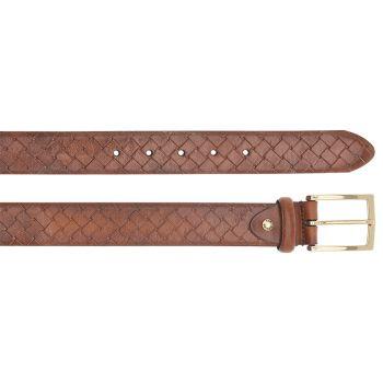 Cintura Uomo in Pelle Intrecciata Marrone THE BRIDGE h 3,5cm 110cm linea Brunelleschi Made in Italy