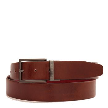 THE BRIDGE Bufalini Line - Double Face Brown and Bordeaux Leather Belt with Gold Buckle 110cm Made in Italy