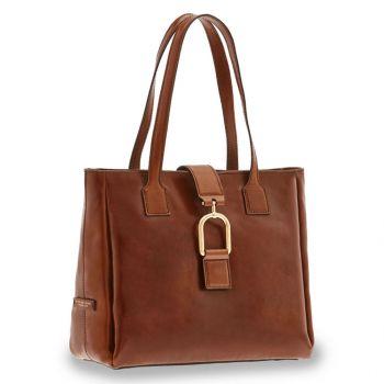 THE BRIDGE Virginia Line – Brown Leather Tote Bag