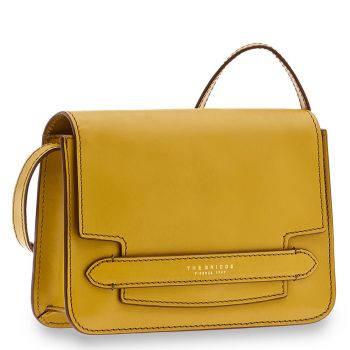 Borsa Donna a Tracolla Grande THE BRIDGE in Pelle Giallo Limone linea Lucrezia