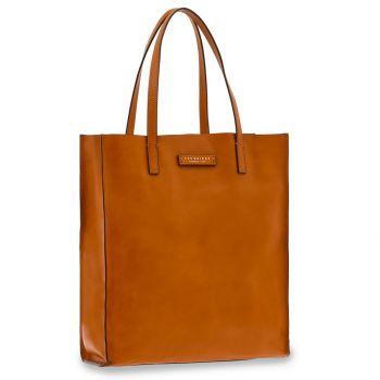 Borsa Donna Shopper Verticale THE BRIDGE in Pelle color Cognac linea Mirra