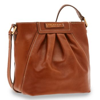 Borsa Donna Secchiello a Tracolla THE BRIDGE in Pelle Color Cognac linea Ginori