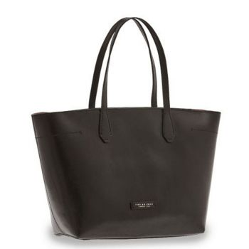 Borsa Shopper Media a Spalla The Bridge in Pelle Nera linea Guelfa