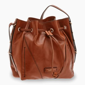 Borsa Donna a Secchiello THE BRIDGE in Pelle Color Cognac linea Tintori