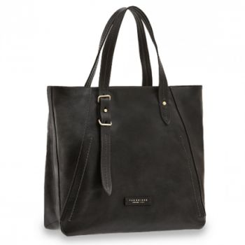 Borsa Donna Shopper Verticale a Spalla THE BRIDGE in Pelle Nera linea Tintori