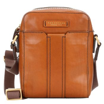 Borsello Uomo Medio THE BRIDGE in Pelle Color Cognac linea Trebbio Made in Italy
