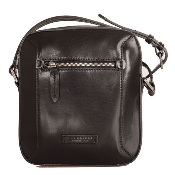 THE BRIDGE Bufalini Line – Black Leather Crossbody Bag Made in Italy