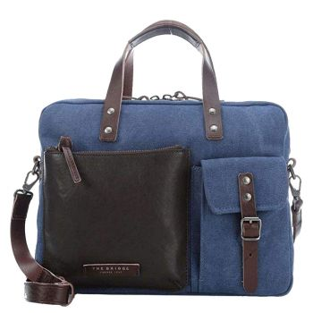 Cartella Due Manici THE BRIDGE in Pelle Marrone e Tessuto Blu linea Carver-D Made in Italy