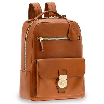 "Zaino Porta Pc 14"" e Tablet THE BRIDGE in Pelle Color Cognac linea Capalbio"