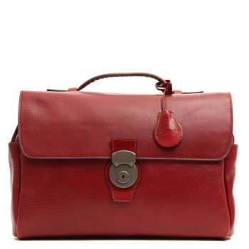 "Cartella con Tracolla Porta Pc 13"" THE BRIDGE in Pelle Martellata Bordeaux linea Capalbio"