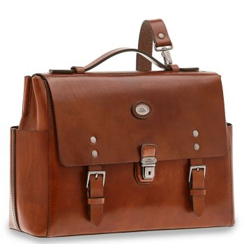THE BRIDGE Lorenzo Line – Brown Leather Messenger with Flap Closure