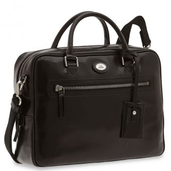 THE BRIDGE Story Line – Black Leather Briefcase with Two Handles