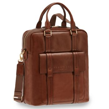"Cartella Verticale Porta Pc 14"" THE BRIDGE in Pelle Marrone linea Vacchereccia"