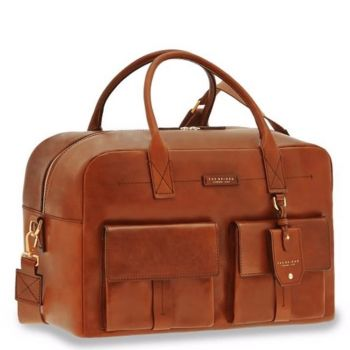 Borsone da Viaggio con Tracolla THE BRIDGE in Pelle Color Cognac linea Serristori