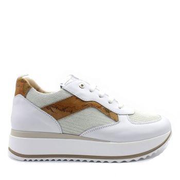 Sneakers Donna 1A Classe Alviero Martini in Tessuto e Pelle Bianco con Dettaglio Geo Classic 0926