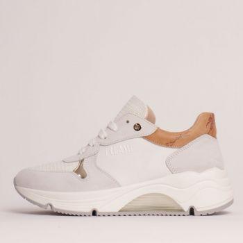 Sneakers Donna 1A Classe Alviero Martini in Tessuto Suede e Pelle Bianco con Dettaglio Geo Classic 0942