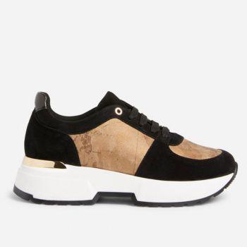 Scarpe Donna 1A Classe Alviero Martini Sneakers in Pelle Scamosciata Nera con Dettagli Geo Brinato A038