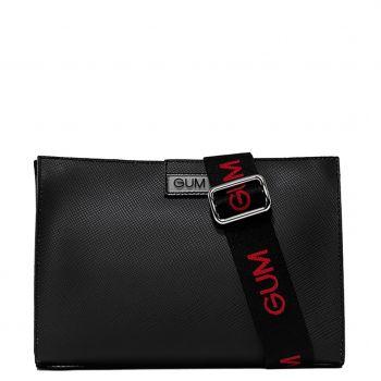 Borsa Donna a Tracolla GUM Seven Media linea Re-Gum colore Nero-Rosso