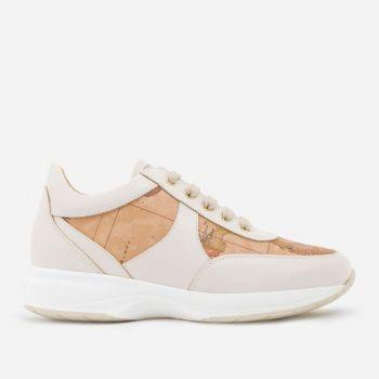 Sneakers Donna 1A Classe Alviero Martini linea Geo Crossing in Pelle color Perla e Dettagli Geo Classic 9810