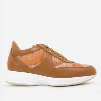 Sneakers Donna 1A Classe Alviero Martini linea Geo Crossing in Pelle Marrone e Dettagli Geo Classic 9810