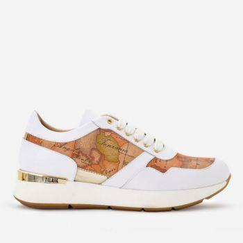Scarpe Donna 1A Classe Alviero Martini Sneakers in Pelle Bianca e Dettagli Geo Classic P316