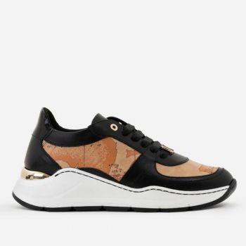 Scarpe Donna 1A Classe Alviero Martini Sneakers in Pelle Nera con Inserti Geo Classic 0101