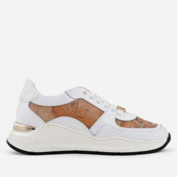 Scarpe Donna 1A Classe Alviero Martini Sneakers in Pelle Bianca con Inserti Geo Classic 0101