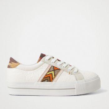 Scarpe Donna DESIGUAL Sneakers con Suola Spessa Etniche colore Bianco