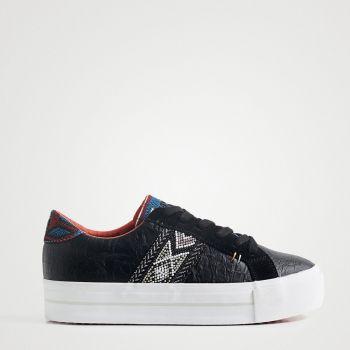 Scarpe Donna DESIGUAL Sneakers con Suola Spessa Etniche colore Nero