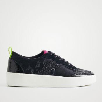 Scarpe Donna DESIGUAL Sneakers Camouflage con Glitter colore Nero
