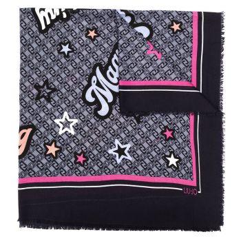 Foulard Donna LIU JO Stampa Funny Star Blu