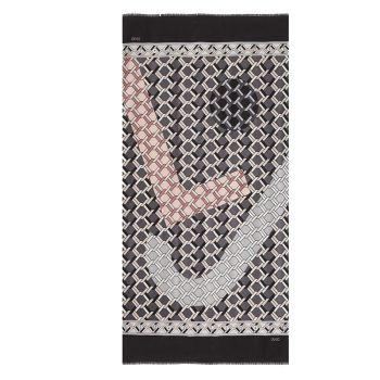 Foulard Donna LIU JO Stampa Logo All Over Nero