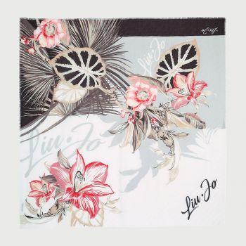 Foulard Donna Plissettato LIU JO Floreale con Logo colore Nero
