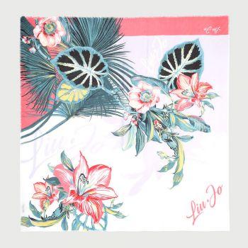 Foulard Donna Plissettato LIU JO Floreale con Logo colore Rosa